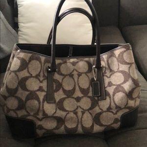 Coach Wool Brown Handbag